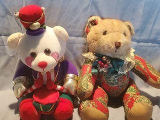 lot of 2 Collectible Bears  Avon BENSON Drummer Bear  and Victorian Print Bear