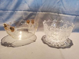 lot of 2 Beautiful Collectible Glassware  Gilded Floral Bowl and Crystal Fogged Floral Bowl