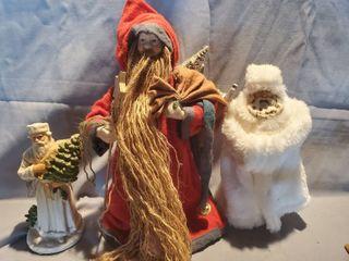 lot of 3 Christmas Decor  Santa Tree Topper and Santa With Tree Figurine and Santa on Stand with White Coat
