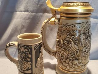 lot of Collectible Beer Steins  Gold Rush Avon   Meyer and lange Blue and Tan