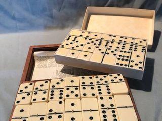 lot of 2 Marbelike Dominoes leather Box Set location Shelf 2