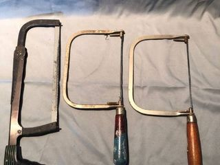 lot of 3 Vintage Wooden Handle Hand Saws location Shelf 2