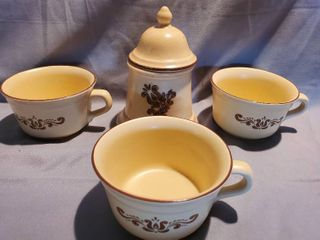 lot of 4  Cute Small Pfaltzgraff Canister with lid and 3 Coffee Cups