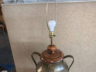 large Brass and Wood Handled lamp Working location 1F Middle