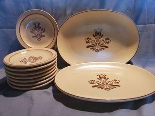 lot of 10  8 Small Pfaltzgraff Plates with 2 Platters