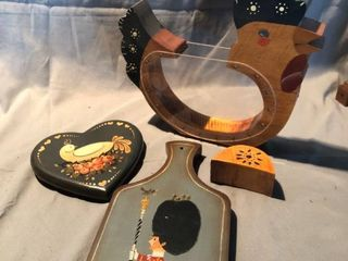 lot of 3 Hand Painted Wood and Wall Decor location Shelf 2
