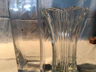 lot of 2 Anchor Hocking Glass Vases location Shelf 2