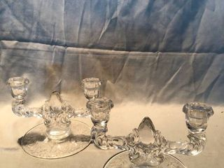 Crystal Candle Holders with Fogged Floral Design location Shelf 4