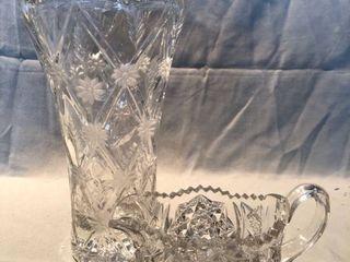 Crystal Vase and Gravy Holder with Etched Floral Design location Shelf 4