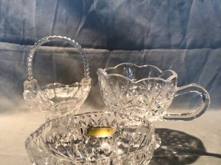 Crystal Glass Candy Dishes and Gravy Holder location Shelf 4