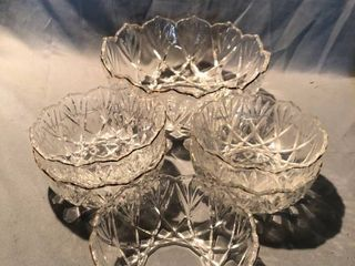 lot of 6 Crystal Glass Etched Gilded lip Bowls location Shelf 4