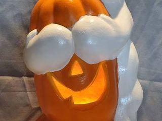 light up Foam Halloween Ghost Hugging Pumpkin   Tested and Working