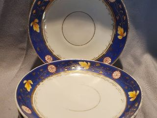 lot of 4 Small Collectible Blue and Gilded Saucer Plates
