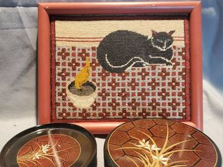 lot of 2  Small Crewel Cat Art and 6 HIMARK Black  Brown and Gilded Olastic Coaster