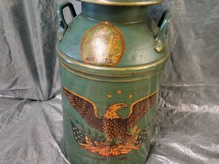 Antique Milk Jug American Theme Painted Elkhorn Wisc  14 x 24 Inches