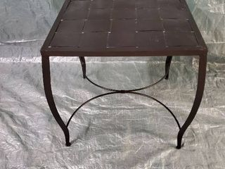 Woven Metal Indoor Outdoor End Table 21x21x20 Inches