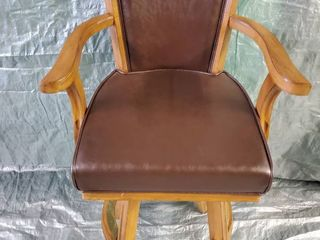 Brown leather and Wood Swivel Bar Stool 24x24x48 Inches