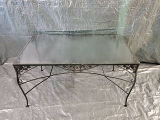 Wrought Iron Patio Table With Grapes Textured Wavy Glass Top 54x32x30 Inches