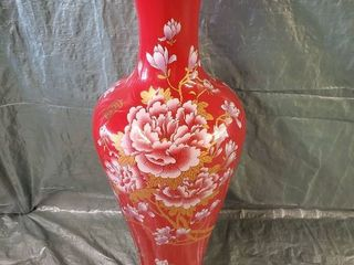 Beautiful Elegant large Red Oriental Vase With Pink and Gilded Floral Design 17x49 Inches