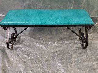 Wrought Iron Patio Bench With Teal Naugahyde Removable Seat 30x10x14 Inches