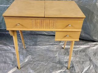 Blonde Mid Century Sewing Machine Table No Machine 28x18x31 Inches Closed