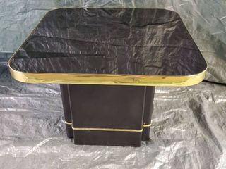 Black and Gold Color Trim Coffee With Glass Top Small Repairs 27 5x20 5 Inches
