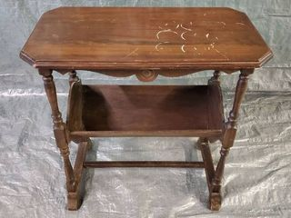 Antique Side Table With lower Magazine Rack 25x13 5x25 Inches