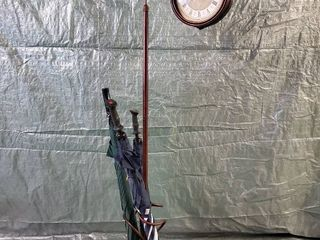 Wrought Iron 2 Piece Roman Numeral Clock Stand with Umbrella Holder  CONTENTS NOT INClUDED