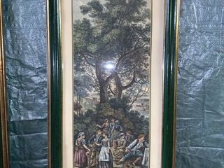 Vintage Florentia Art Print Green Gilded Frame location 1E Middle
