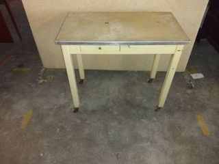 Cool Vintage  BOOM  Table On Wheels With Drawer And A Pull Out 33x19x29 location 1E Middle
