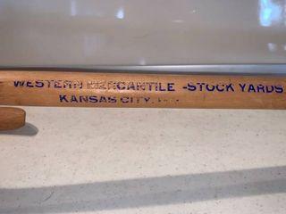 Vintage Western Mercantile Stock Yards Kansas City Mo  Advertising Cane location Shelf D