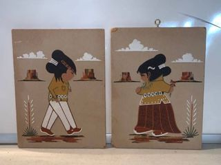 Navajo Boy and Girl Sand Art by Ron Yazzie location Shelf D