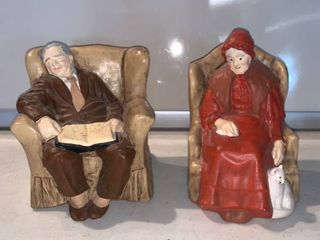 Hand Painted Old Woman and Man in Chairs Ceramic Figures location Shelf D
