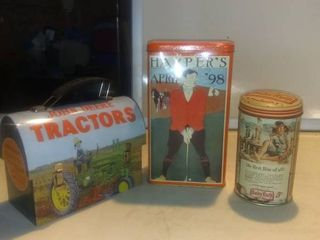 lot Of 3 Cool Tin Containers  John Deere  Baby Ruth Shelf D