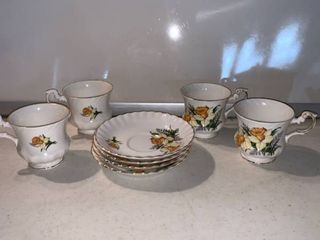 Set of 4 Bone China Cups and Saucers location Shelf D