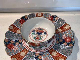 Arita Imari Fan Fine Porcelain Ornate Plate and Bowl location Shelf D