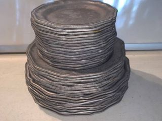 Set of 32 Wilton RWP Pewter Plates location Shelf D