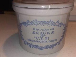 Vintage Grandma s Snack Crock In Nice Shape Shelf D