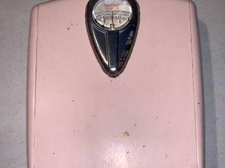 Retro Powder Pink Borg Bathroom Scale location Shelf E