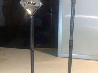 2 Cool Metal Candle Holders With Removable Glass Diamond Shelf E