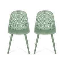 Posey Outdoor Modern Dining Chair set of 2 green