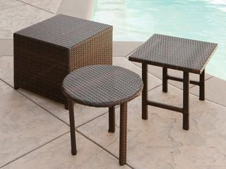 Palmilla Wicker Table  Set of 3  by Christopher Knight Home  Retail 168 99