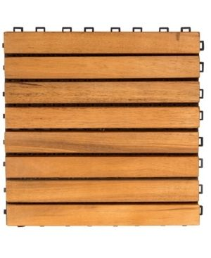 Vifah Premier Teak finished Acacia 8 slat Interlocking Deck Tiles  Set of 10