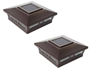 Classy Caps 6x6 Brown Aluminum Oxford Solar Post Cap  Set of 2