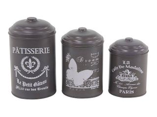 Set of 3 Farmhouse 8  10 and 11 Inch Round Gray Tin Canisters