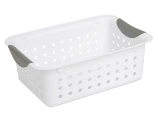 Case of 12 White Sterilite Small Baskets