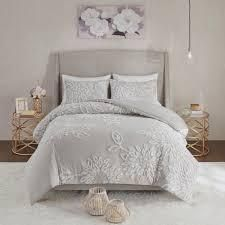 Madison Park Pansy Grey Tufted Cotton Chenille Floral Duvet Cover Set  Retail 119 99