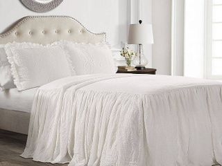 lush Decor Ruffle Skirt 3 Piece White Bedspread Set