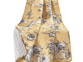 lush Decor French Country Toile Cotton Reversible Throw Blanket