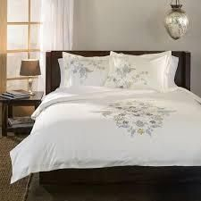 Miranda Haus Hyacinth Floral Embroidered Cotton 3 piece Duvet Cover Set